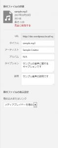 MP3ファイルの場合、タイトル・アーティスト・アルバム・キャプション・説明を設定できます